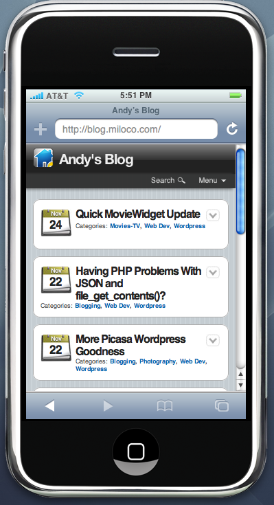My blog as seen through WPtouch