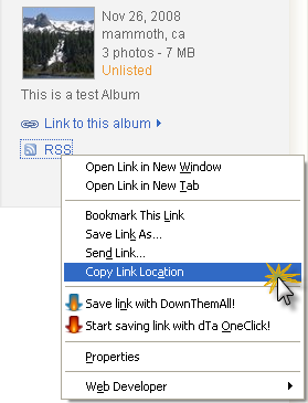 Copy the RSS link for your Picasa album directly from the Picasa website